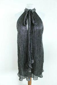 Zara Mujer Nuevo Negro Glistering Mangas Alto y Bajo Vestido Con Frente Talla M