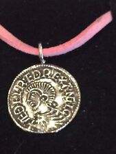 "Aethelred II Coin WC3 Made From English Pewter On a 18"" Pink Cord Necklace"