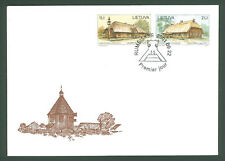 Lithuania F07 FDC 2001 2v Wooden Architecture Museum Under face