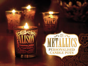 H&H Metalics Candle Pot - Votive Candle Holder - Personalised Candle Holders