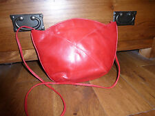 Vintage Russell & Bromley across body clutch bag VGC red leather