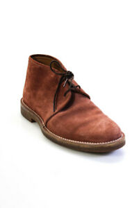 Gucci Mens Round Toe Low Heel Lace Up Chukka Ankle Boots Red Suede Size 7