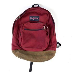 Vintage Red Jansport backpack leather bottom
