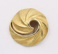 Vintage Nautilist Style Twist Modernist Gold Plated Brooch Pin
