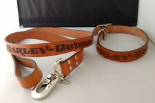 "New Harley Davidson 20"" Dog Collar & Matching Leash Leather Authentic"
