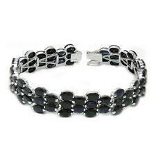 De Buman Sterling Silver Natural Sapphire Wide Tennis Ladies Bracelet, 7 Inches