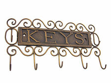 7 Hook Ornamental Cast Iron Metal Key Rack Holder Rustic Country Antique Brown