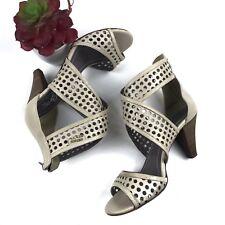 MISS SIXTY Womens Size 38 USA 7.5 Bone Leather Zip Back Open Toe Zip Pumps Heels