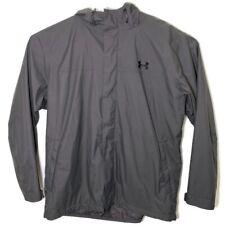 Under Armour Mens XXL Solid Gray Zip Up Windbreaker Outdoor Rain Coat Jacket