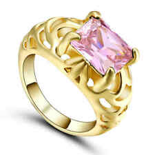 Size 8 Pink Sapphire CZ Engagement Ring10KT yellow Gold Filled Women's Jewelry