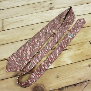 Hermes Silk Tie Orange Brown Checkboard Necktie Mondrian Plaid Geometric Print