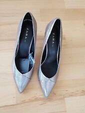 ZARA Silver Shiny High Heel Court  Shoes   NEW SIZE 7 EU 40