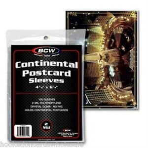 300 BCW Continental Postcard Poly Sleeves for Larger Postcards
