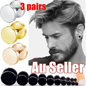 1/2/3Pairs Black Stainless Steel Flat Round Barbell Mens Unisex Ear Plugs Stud