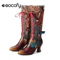 SOCOFY Women Retro Style Leather Boots Knee High Block Heel Shoes Zipper Lace Up