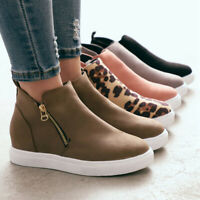 Womens Wedge Hidden Heel Loafers Sneakers Slip On Trainer Casual Pumps Shoes