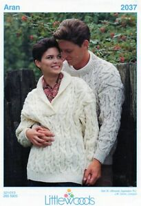 """~ Littlewoods Knitting Pattern For Two Lovely Aran Sweaters ~ 30"""" ~ 44"""" ~"""