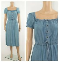 ex M&S Marks & Spencer Button Front Pockets Chambray Denim Tencel Midi Dress