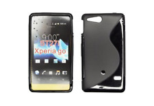 Housse Etui Coque Silicone Gel Noir S ~ Sony Xperia Go / ST27i