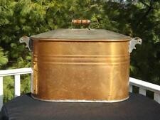 Antique Cooper Boiler & Lid Wooden Handles Tub Basin No Dents Tight Lid 27x12x17