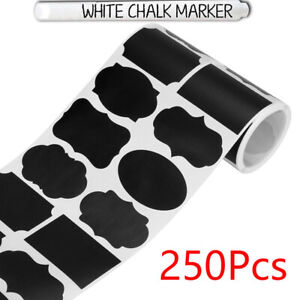 250Pcs 8 Style Round Blank Chalkboard Labels sticker -Erasable ChalkBDAU