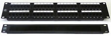 "Cat5E 19"" 48 Port Patch Panel + Brush Cable Tidy Comms Rack Data Network Cabinet"