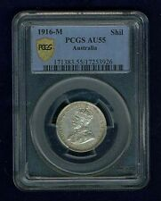 AUSTRALIA 1916-M 1 SHILLING SILVER COIN, ALMOST UNCIRCULATED CERTIFIED PCGS AU55