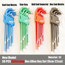 36 PCS EXTRA LONG ARM WRENCH ALLEN KEYS HEX SET METRIC + IMPERIAL + TORX KEY