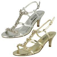 Spot On F1R925 Mujer 7.6cm Oro o Plata Tacón Zapatos de Noche (R9A)