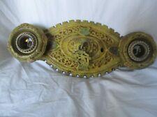 Antique heavy ceiling light fixture sconce painted deco nouveau 2 socket gold