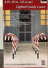 """New 8pc 10"""" Peppermint CANDY CANE PATHWAY LIGHTS MARKERS Stake Yard LIGHTED"""