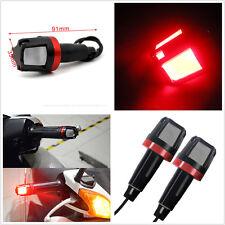 2 Pcs Red Motorcycle Handlebar Turn Signal Grip Bar Side Marker Indicator Light