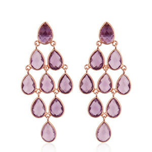 Natural Amethyst Gemstone 925 Silver Chandelier Earrings Wedding Gift Jewelry