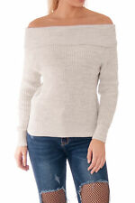 Ladies Chunky Knit Bardot Off Shoulder Long Cuffed Sleeves Jumper Sweater Top