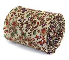 Frederick Thomas Skinny Ivory Crema & Marrone a fiori. Cravatta Lino ft1937