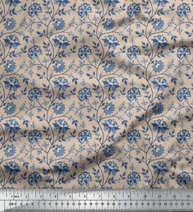 Soimoi 58 Wide Floral Printed Viscose Rayon Dressmaking Fabric 115 GSM By Metre