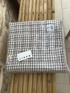 "Linum set of 4 seat cushions 40cm x 40cm (16"" x 16"") ivory/beige check brand new"