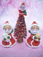 *RARE VTG Napco Christmas Red Girl Angel Holds Doll & Kitty Bottle Brush Tree