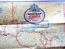 VINTAGE LOVELY MAP ALBERTA CANADA BORDER CROSSING CAMP GROUNDS ALASKA HWY 1959