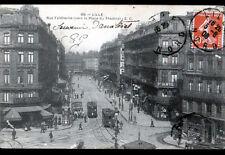 LILLE (59) TRAMWAYS Ligne 1 & A au GRAND HOTEL DE LYON CAFE BULENS animé en 1908
