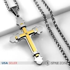 Pendant w/ Braid Chain Necklace Punk 1C Men Girl Gold Tone Stainless Steel Cross