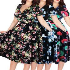 UK Women Vintage Floral 50's ROCKABILLY Swing Housewife Retro Dress Plus Size