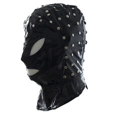 Men's Spandex With Latex studded Full Hood Eyes Mouth Open Mask Slave restraints