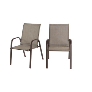 Mix Match Riverbed Taupe Tan Dining Chair 2-Pcs Steel Sling Outdoor Patio Seat