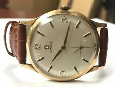 Vintage OMEGA Caliber 268 18k Solid Gold Swiss With Leather Band Men's Watch