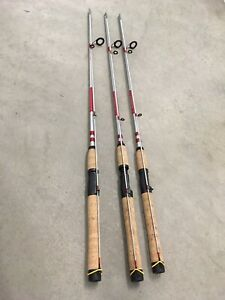"3 Shakespeare 6'6"" Spinning Rods 2pc Cork Handle Catch More Fish Medium 6-12lb"