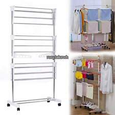 Steel Folding Laundry Clothes Drying Rack Organizer Dryer Hanger Free Standing