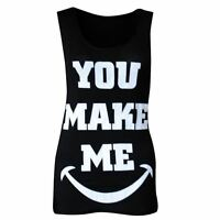 womens ladies graphic print sleeveless vest tank top summer t shirt size 8-26