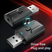 AU_ FP- Portable USB Bluetooth 5.0 Adapter Stereo 3.5mm AUX Audio Receiver Trans