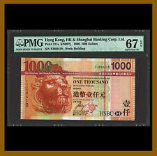 Hong Kong 1000 (1,000) Dollars, 2008 P-211e KNB97j HSBC PMG 67 EPQ Unc /LA
